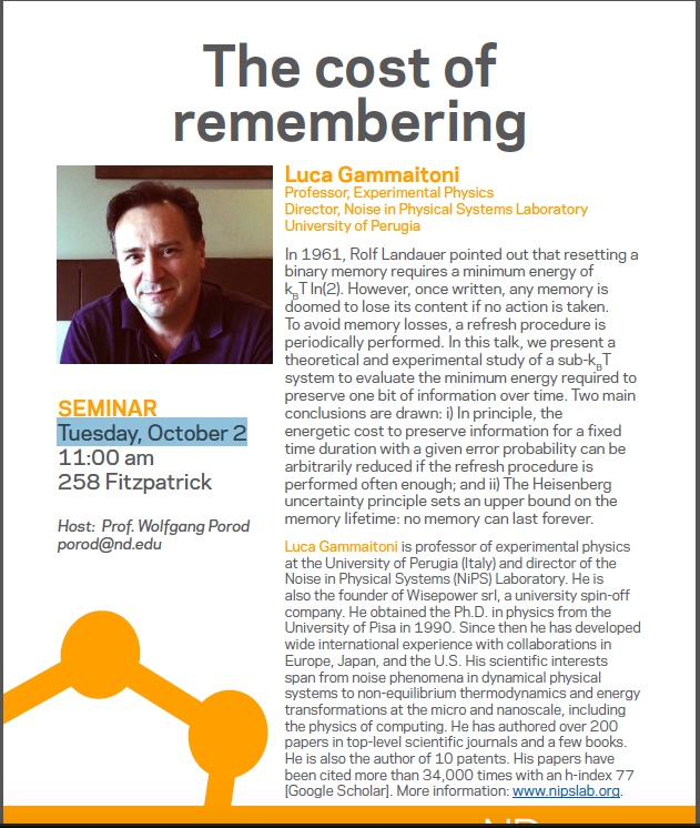Seminar: the cost of remembering
