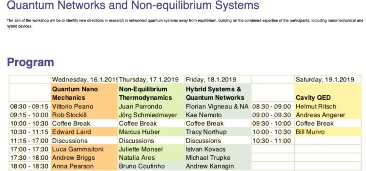 "NiPS presentation at the ""Quantum Networks and Non-equilibrium Systems"" workshop"